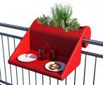 Stolik nowoczesny czerwony na balkon z pojemnikiem