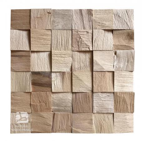 PROMOCJA - Panele drewniane BUK Europejski kostka łupana 3d - Natural Wood Panel - PROMOCJA