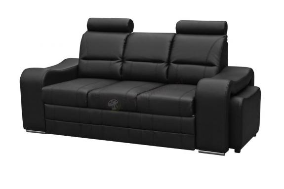 Sofa rozkładana z funkcją spania Wenus ekoskóra + 2 pufy - Kinas Meble