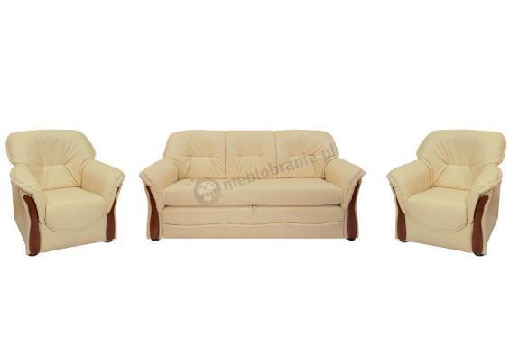Sofa rozkładana z funkcją spania Honorata ekoskóra + 2 fotele