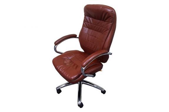 Fotel biurowy z ekoskóry Malibu Tan PU Chrome