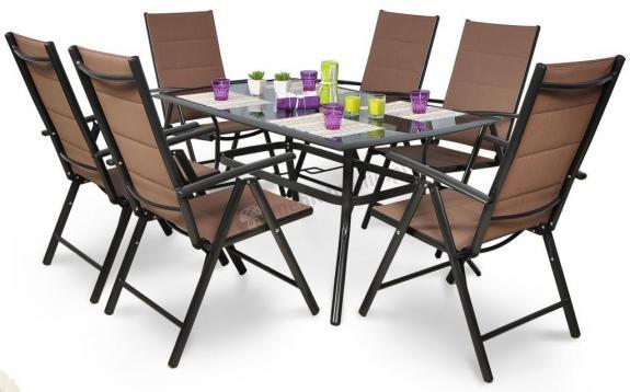 Zestaw Mebli Ogrodowych Aluminiowych Fenku : oferowanym zestawie jest stół + 4 krzesła (inaczej niż na
