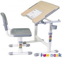 Piccolino II Grey biurko regulowane dla dziecka i krzesło Fun Desk