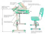 Sorriso Green małe biurko dla dziecka i krzesło wymiary