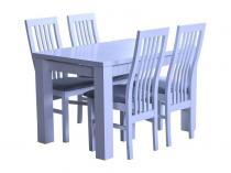 Biały stół z krzesłami do kuchni rozkładany Amelia 120-K4 (P)