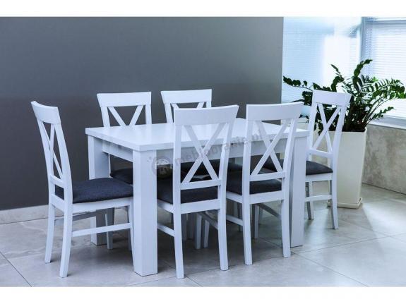 Biały Stół I Krzesła Do Salonu Rozkładany Amelia 120 K6 X