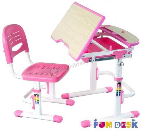 Sorisso Pink biurko dziecięce regulowane z krzesełkiem - regulowany blat