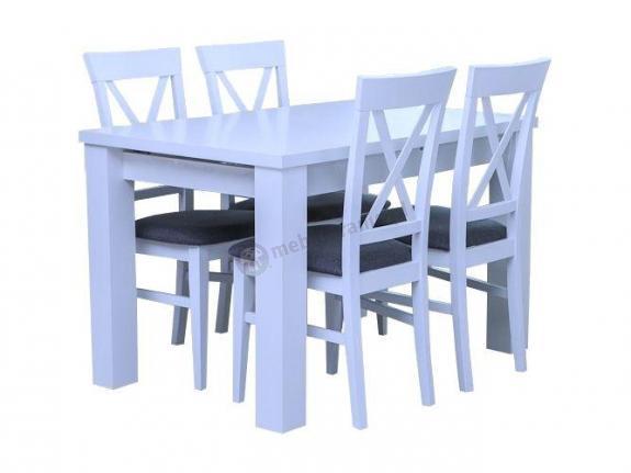 Rozkładany biały stół i krzesła Amelia 120-K4 (X)
