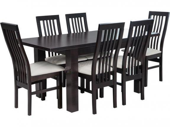 Stół i krzesła do kuchni Amelia 120-K6 (P) Wenge