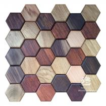 Hexagon series - 5 MIX - Natural Wood Panels