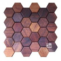 Hexagon series – 4 Merbau - Natural Wood Panels