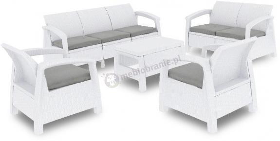 Meble ogrodowe CORFU Set Triple Max - Biały
