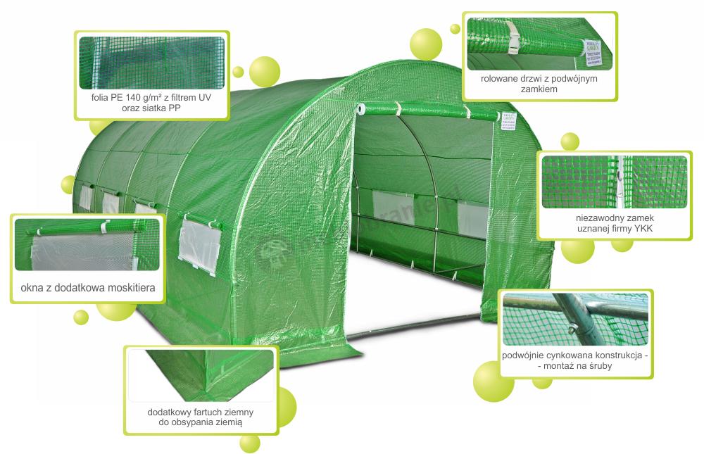 Focus Garden Meble Ogrodowe Technorattan Trivento Black : Tunel foliowy metalowy 3,52m  zielona siatka wzmacniająca