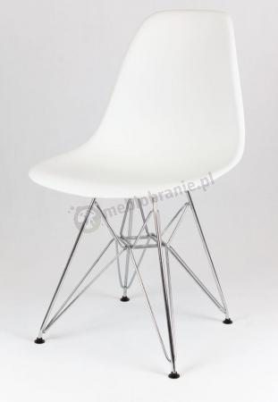 Krzesło białe z metalowymi nogami KR012