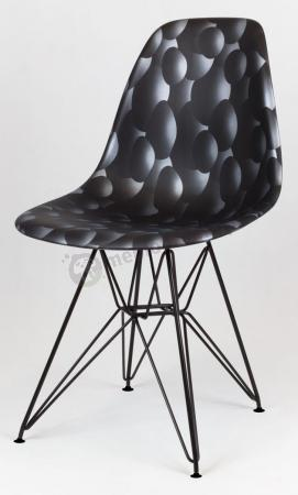 Krzesło skandynawskie czarne bąbelki metalowe nogi
