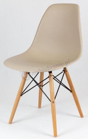 Krzesło Eames skandynawskie beżowe z drewnianymi nogami