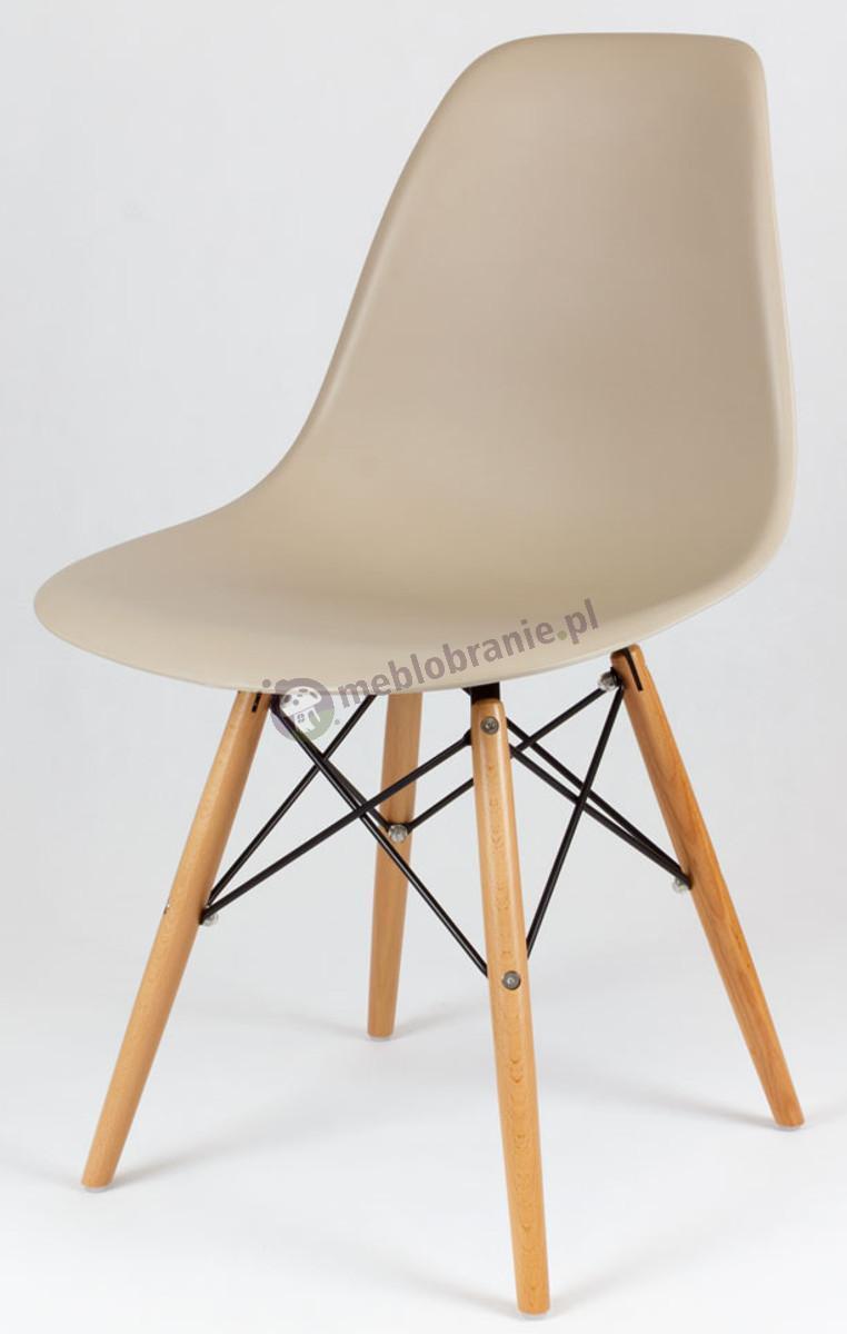 Krzesło Eames skandynawskie beżowe KR012 drewniane nogi