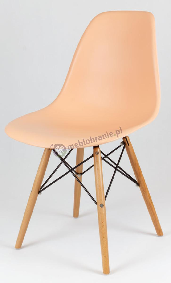 Krzesło skandynawskie brzoskwiniowy KR012 drewniane nogi