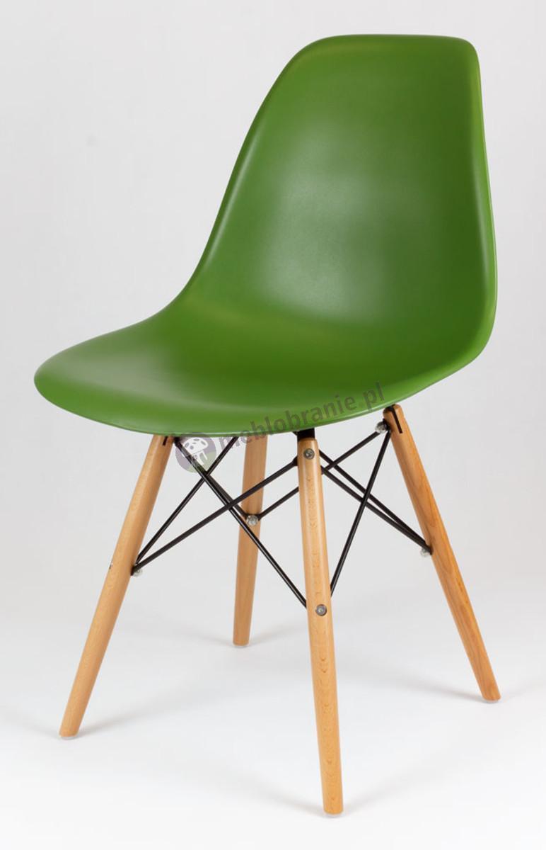 Krzesło skandynawskie ciemny zielony KR012 drewniane nogi