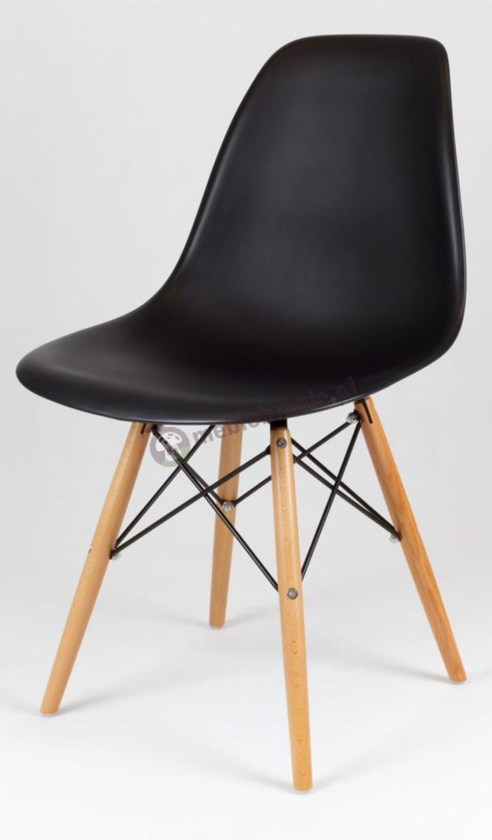 Krzesło inspirowane Eames Eiffel czarny KR012 drewniane nogi