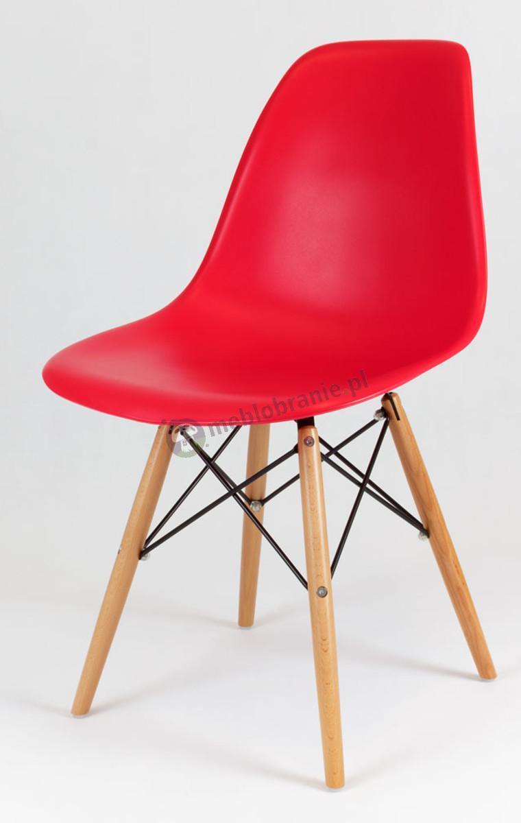 Krzesło skandynawskie czerwony KR012 drewniane nogi