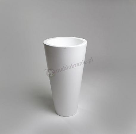 Biała donica tarasowa Della - 75cm - krystaliczna biel
