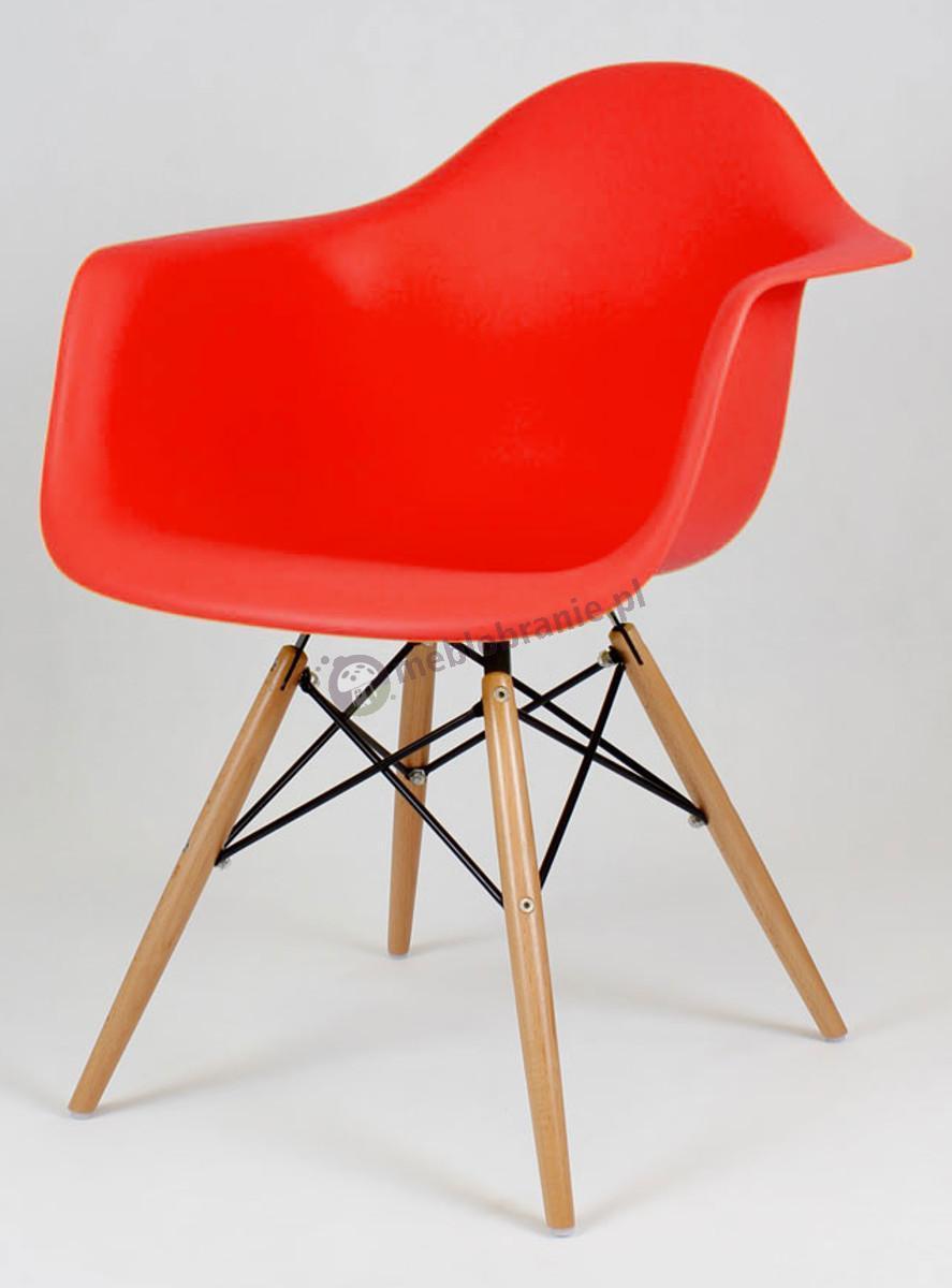 KR012F Mondi krzesło fotel design czerwony drewniane nogi