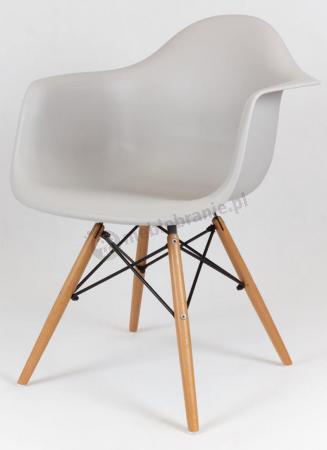 Krzesło skandynawskie podłokietniki jasnoszare