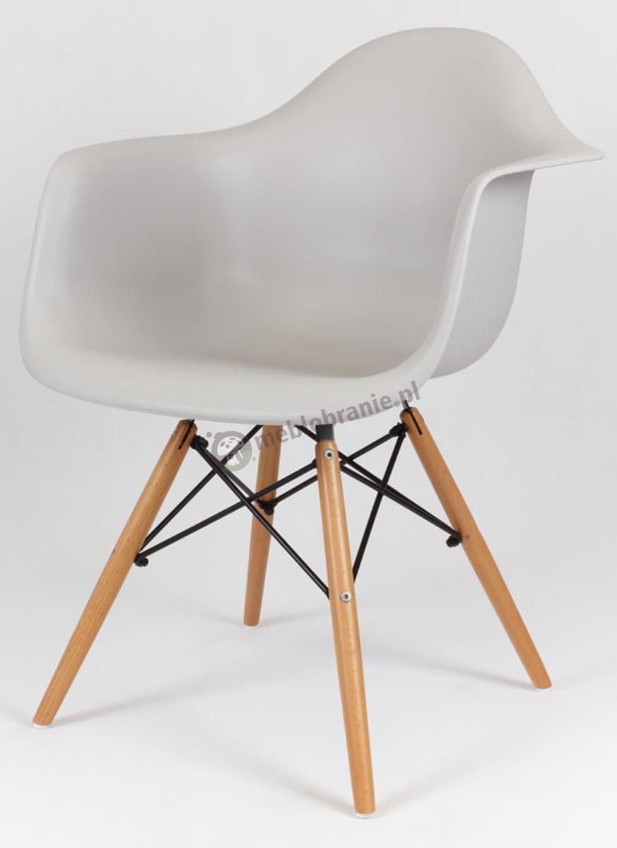 KR012F Mondi designerskie krzesło jasno szary drewniane nogi