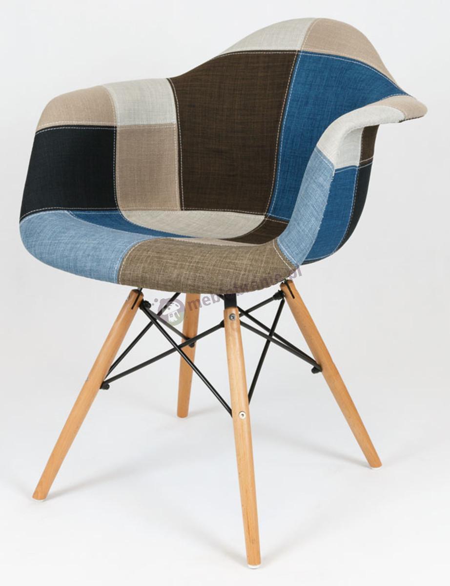 KR012F Mondi design fotel patchwork 6 drewniane nogi