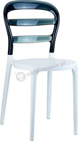 WYPRZEDAŻ - Krzesło Miss Bibi Białe / Czarne Przezroczyste