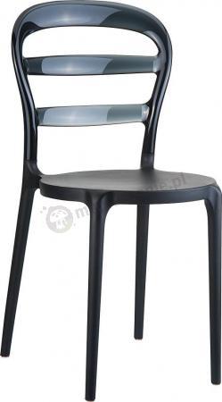 WYPRZEDAŻ - Krzesło Miss Bibi Czarne / Czarne Przezroczyste