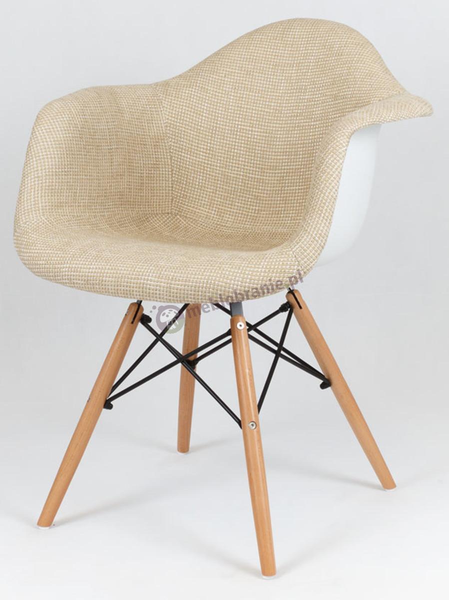KR012F designerskie krzesło tapicerowane beżowy drewno