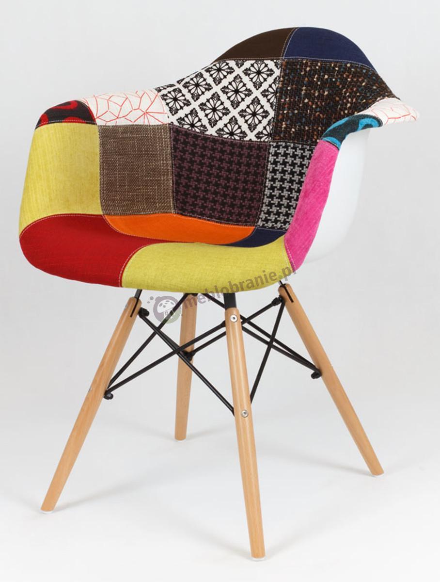 KR012F Mondi krzesło do jadalni nowoczesne patchwork 3 drewno