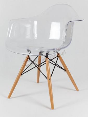 Krzesło KR012F transparentne z drewnianymi nogami