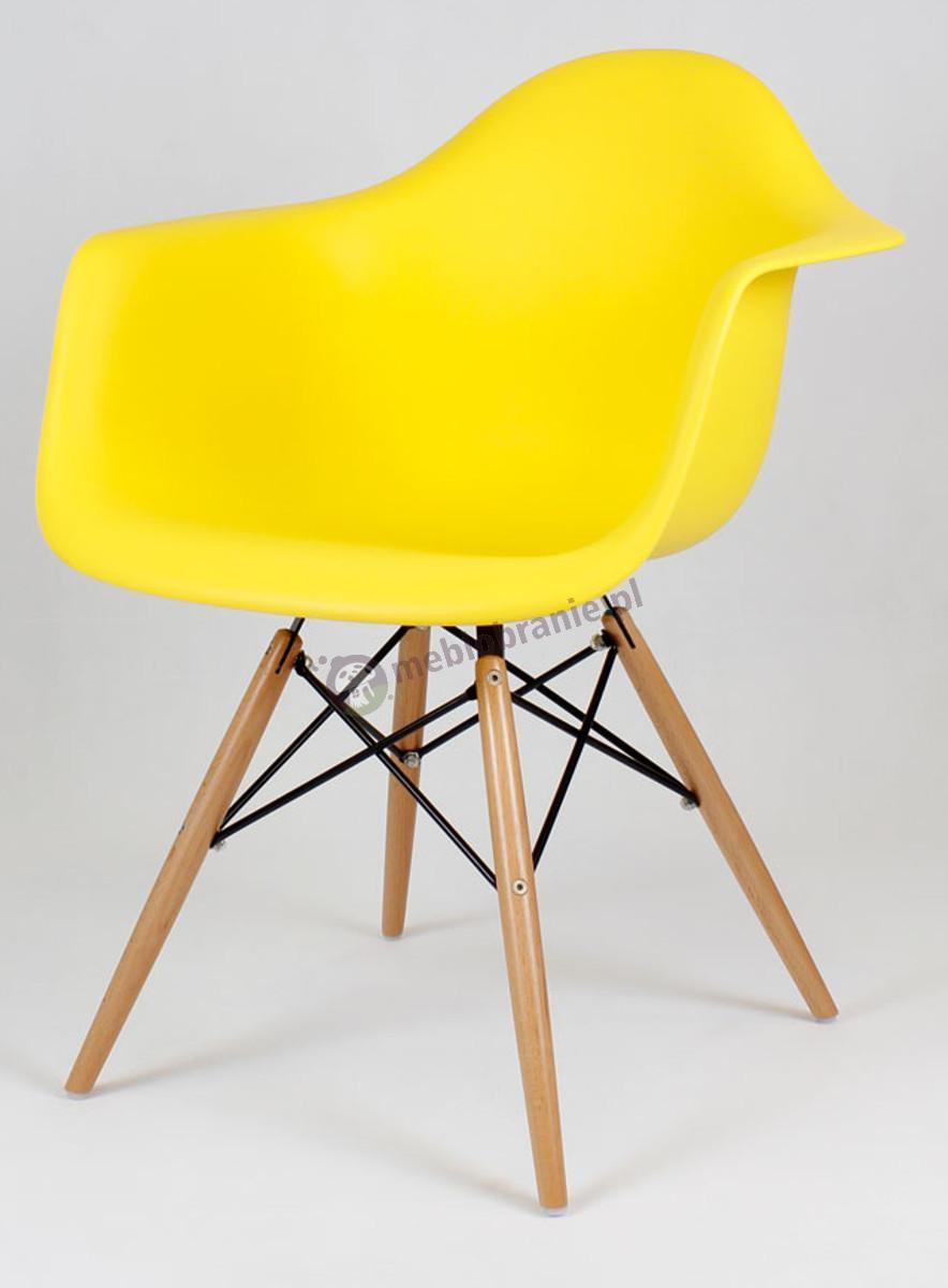 KR012F Mondi nowoczesne krzesło do kuchni żółty drewno
