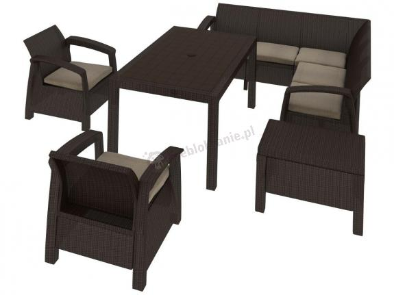 Corfu Relax Duo Max brązowy sofa narożna ogrodowa