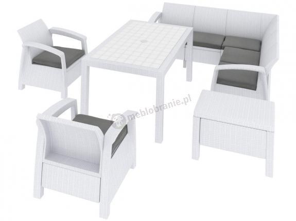Corfu Relax Duo Max biały zestaw ogrodowy plastikowy