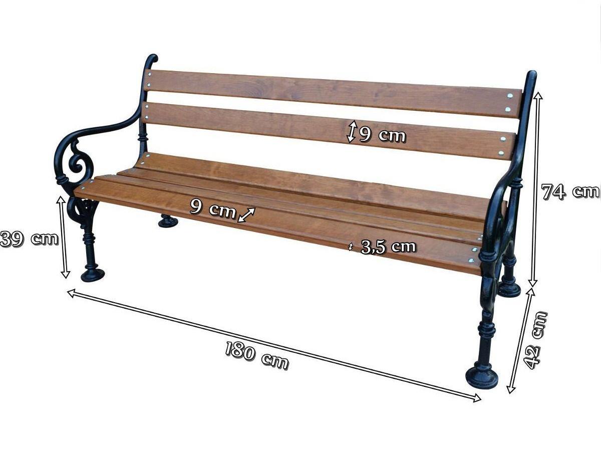 Ławka parkowa typ wiedeński 180cm wymiary