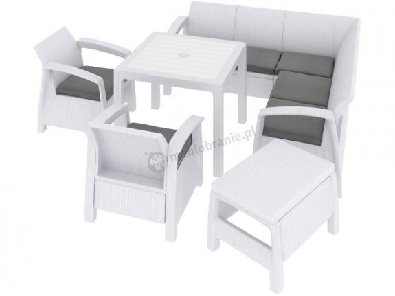 Corfu Relax Quartet Set biały komplet ogrodowy z kwadratowym stołem