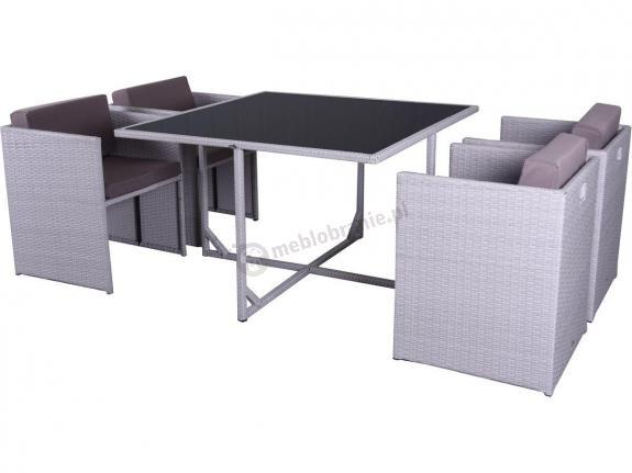 FARIOSO Ashen & Mocca meble z fotelami wsuwanymi pod stół