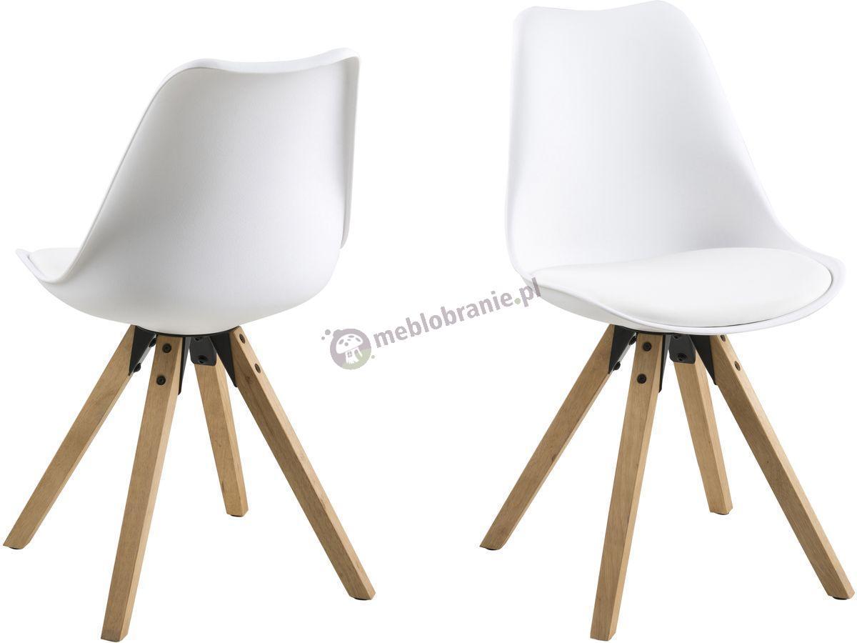 Actona Dima krzesło plastikowe z drewnianymi nogami białe