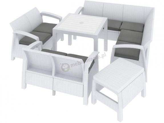 Corfu Relax Quartet Set Max biały komplet ogrodowy plastik