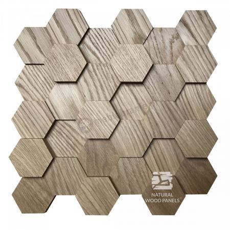 Hexagon series 3D – Dąb - Natural Wood Panels