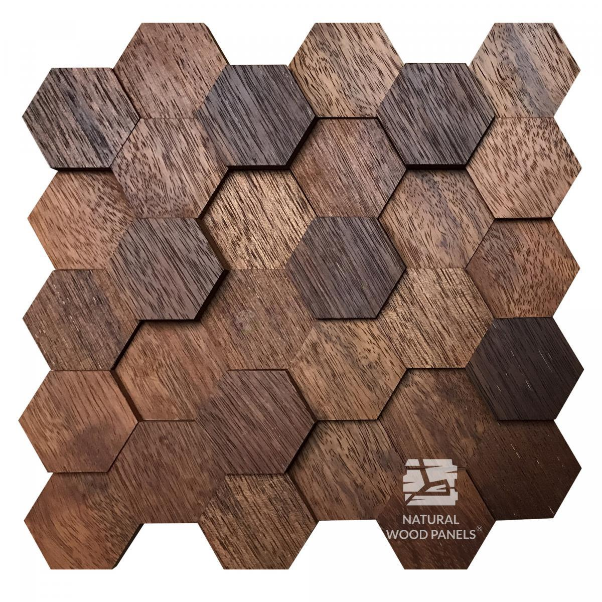 Hexagon 3D Merbau Natural Wood Panels