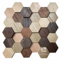 Hexagon series 3D – 11 Mix - Natural Wood Panels