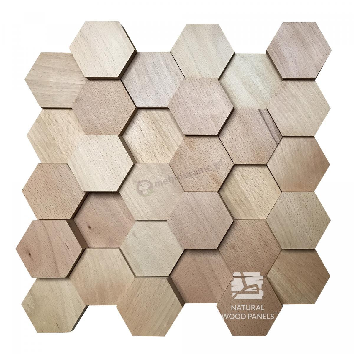 Hexagon 3D Buk Natural Wood Panels