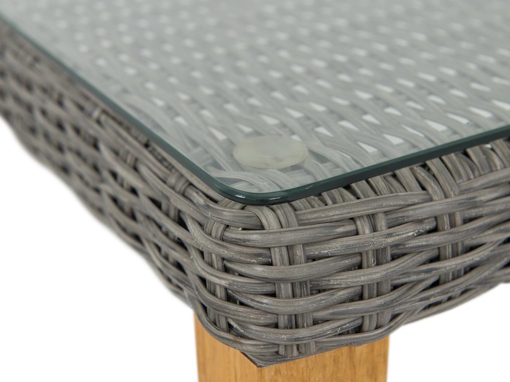 Zbliżenie na blat stolika z zestawu Gambito Grey technorattan