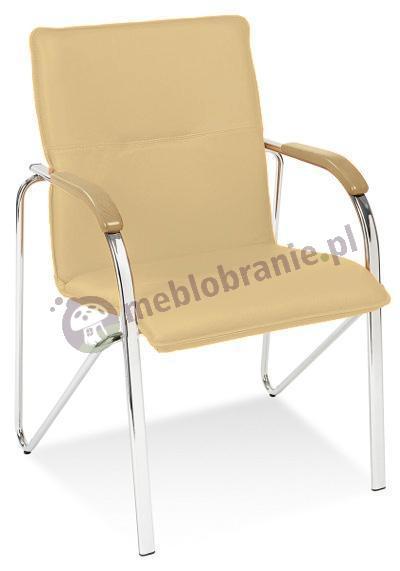 Samba krzesło do poczekalni Beżowe z Bukowymi podłokietnikami
