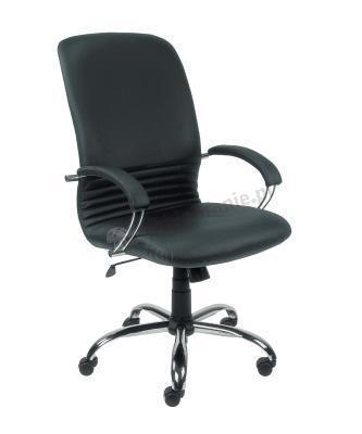 MIRAGE steel02 chrome fotel gabinetowy skórzany czarny